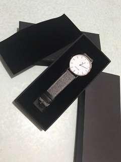 接近全新❗️文青 Rossing & Co. 灰絨面皮錶帶手錶