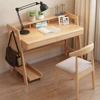 實木書桌家用臥室學生寫字桌子胡桃色北歐電腦桌寫字台日式簡約