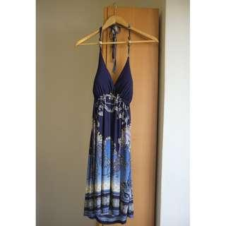 Halter Striped Batik Dress