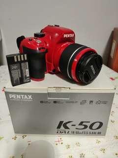 Pentax k50 red + kit lens