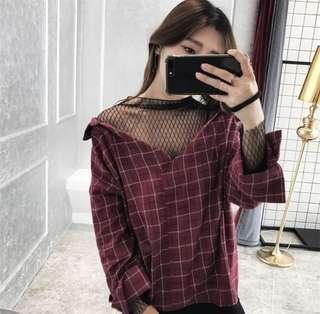 Mock Two piece mesh panel Plaid shirt