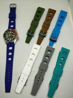 Rubber Dive Watch Strap 20mm Vintage Rally Style