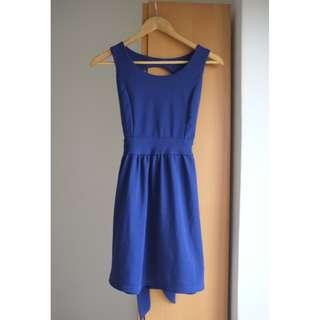 Navy Blue Dress (Bare Back)