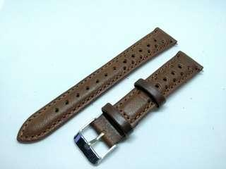 Rally Style 18mm Dark Brown Leather strap 18mm clearance