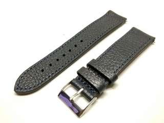 Classic 22mm Leather strap midnight blue with blue stitches 22mm