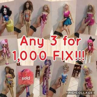 Barbie dolls any 3 for 1,000
