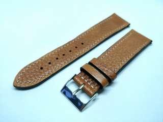 Classic watch strap 22mm brown with white stitches