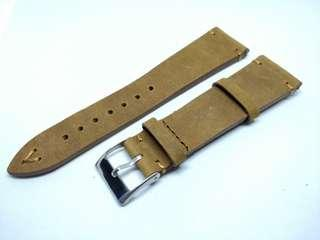 Khaki Brown 22mm Vintage Leather Strap