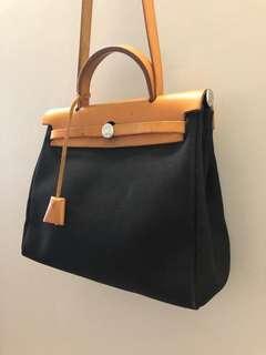 Hermes Herbag Black/Beige Brown Leather