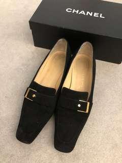 Chanel loafers black velvet shoes