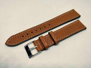 Classic Leather Strap 18mm Brown with White Stitches
