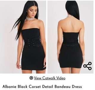 Prettylittlething bandeau corset dress size 6