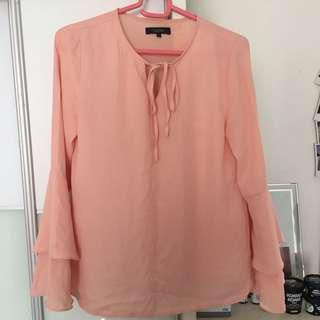 Nichii peach / soft pink with flare sleeves blouse