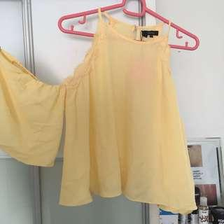 Yellow chiffon off shoulders with flower details nichii top
