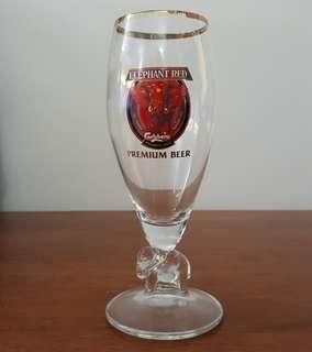 Vintage Carlsberg red elephant beer glass cup