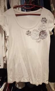 Pale Grey Floral Embellished Tshirt Blouse