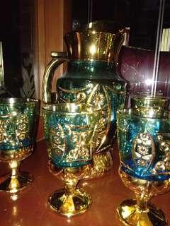 Satu set gelas wrna Biru gold Shinil