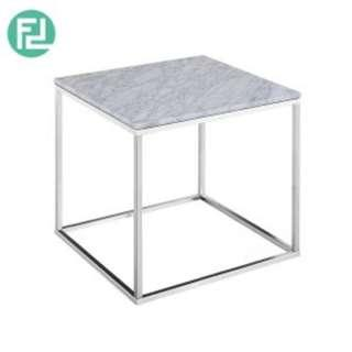 ISABELLE Italian white marble end table with metal legs