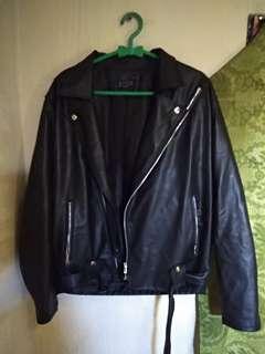 Jaket kulit double kerah