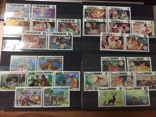 Disney Movie Stamps - Alice in Wonderland, Bambi, Lady and the Tramp, Peter Pan