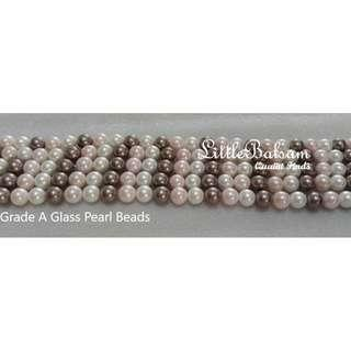 Grade A 3-Color Glass Pearl Beads 8mm