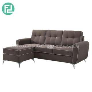 MIA 3 seater L shaped washable fabric sofa-brown