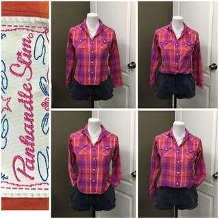 Small-medium polo blouse/top checkered/plaid - 50 php only!