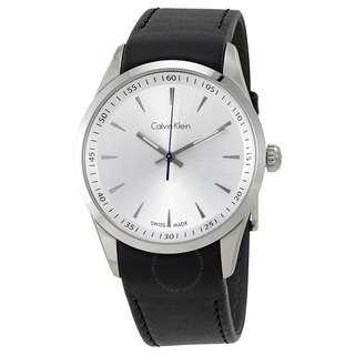 BN Calvin Klein Bold White Dial Black Leather Mens Watch K5A311C6