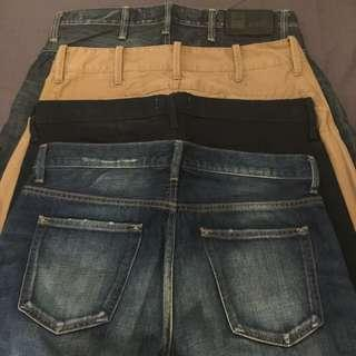 4 Pairs of Denim G-Star, Wings&Horns & Uniqlo  -Waist 32-34