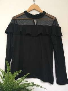 Black long sleeve with frills and mesh shoulders