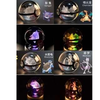 3D Pokemon Crystal Ball with Rotating LED lights base Music box (Decoration and Display) Bluetooth/SD Card