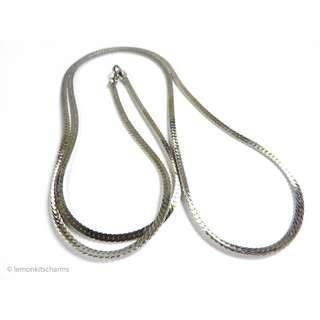Vintage 1970s Silvertone Plain Chain Long Necklace, nk646