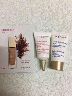 ($22包郵) Clarins Eye 3ml + night cream 5ml + foundation sample 1pcs