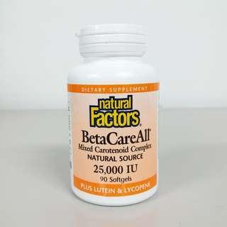 Natural Factors, BetaCareAll, 25000 IU, 90 Softgels (Carotene/Eye Health)