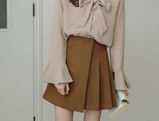 Khaki Asymmetrical Pleated Skirt #Dec50