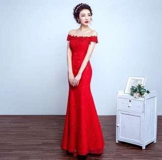 🆓📮Red Off Shoulder Bridal Gown #Dec50
