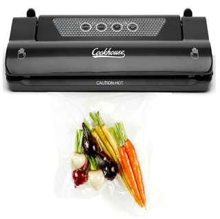 Cookhouse Vacuum Sealer Food Saver Machine, For Sous Vide, Baby, Dry and Moist Food, Clothes Packing, Keep Food Fresh, Minimise Freezer Odours and Prevent Spillage. Built in Bag Cutter
