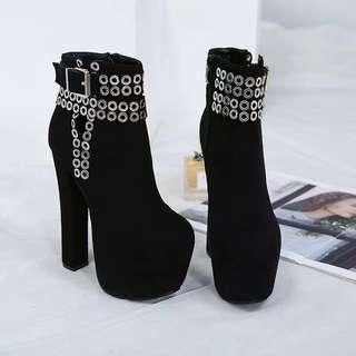 Black Platform Boots with Silver Rivets size 38 39 40