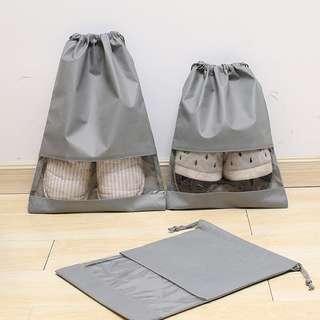 Grey non-woven cloth shoe bag receiving bag beam-mouth bag travel shoe bag dustproof bag shoe cover boot cover