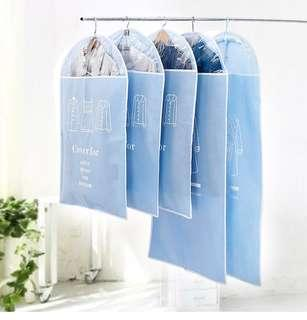 Dust cover dust bag hanging clothes dust cover thickened hanging bag household coat cover coat bag suit cover(Blue)