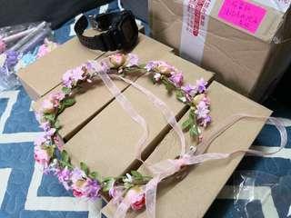 姐妹 新娘 伴娘 假花頭飾花圈