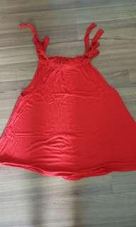 Red sleeveless tie up top