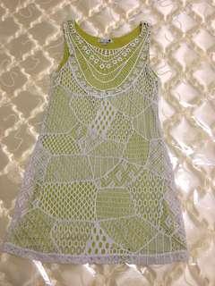 Cotton On lime green crochet overlay beach dress