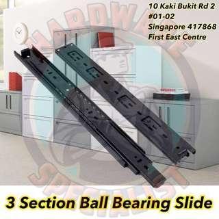 3 Sections Ball Bearing Full Extension Black Drawer Slide