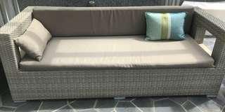 Outdoor settee in light grey n beige