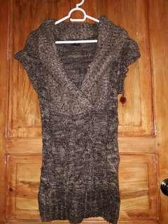 Brown Short Sleeved Knitted Top