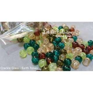 Assorted Crackle Glass Beads 6mm