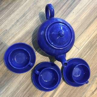Blue Ceramic Teapot Set