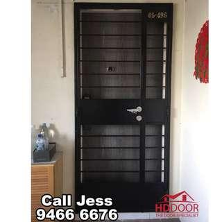 HDDoor the laminate Fire-rated main door and Mild steel gate with install