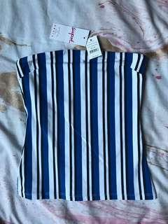 striped blue tube top